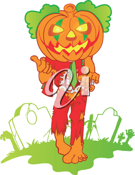 pumpkin zombie mascot cartoon isolated on white background