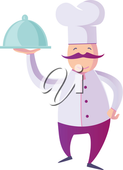 Vector flat  Illustration  of a Funny Italian Chef Presenting His Specialty of The House. isolated on white background