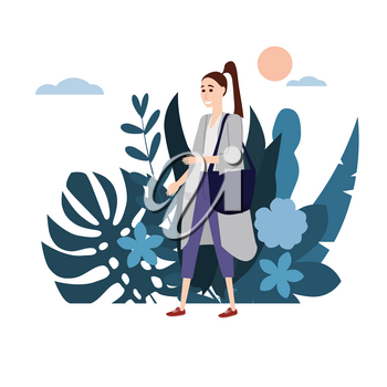 Young girl in a gray coat goes about his business. Background flora flowers floral leaves