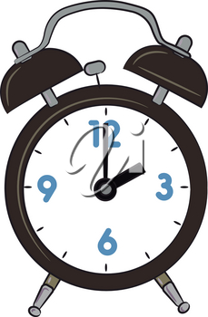 A table alarm clock with time showing 2 O'clock vector color drawing or illustration