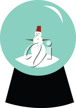 A beautiful snow globe with a cute snow man inside vector color drawing or illustration