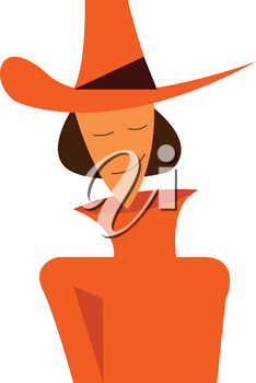 A young woman is wearing a orange sweater and cow boy hat to beat the cold vector color drawing or illustration
