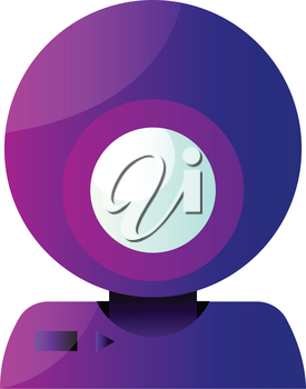 Vector icon illustration of a purple round webcam on white background