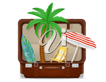 suitcase and items for a beach holiday concept stock vector illustration isolated on white background