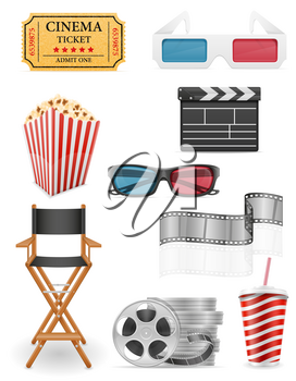 set cinema icons stock vector illustration isolated on white background