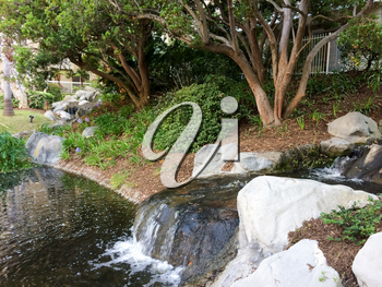 Beautiful modern landscaping waterscapes at residential housing condo apartment complex unit