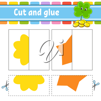 Cut and play. Paper game with glue. Flash cards. Clover, flower, star. Education worksheet. Activity page. Funny character. Isolated vector illustration. Cartoon style.