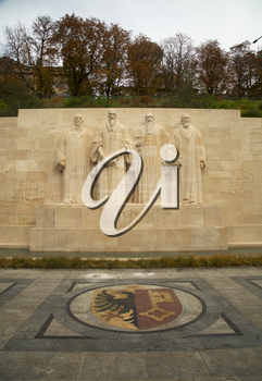 GENEVA-SWITZERLAND OCTOBER 25, 2015:  The International Monument to the Reformation in Geneva, Switzerland honor many of the main individuals, events, and documents of the Protestant Reformation by depicting them in statues and bas-reliefs.